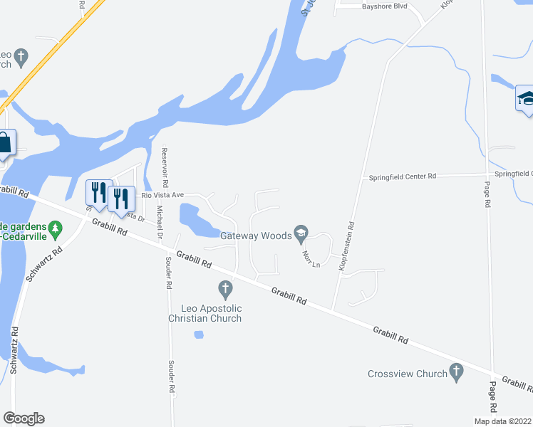 map of restaurants, bars, coffee shops, grocery stores, and more near in Leo-Cedarville