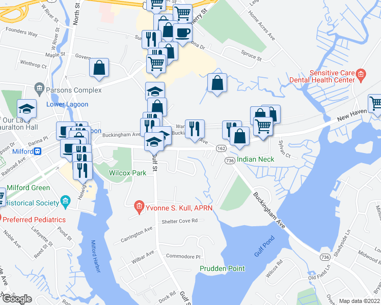 map of restaurants, bars, coffee shops, grocery stores, and more near 243 New Haven Ave in Milford