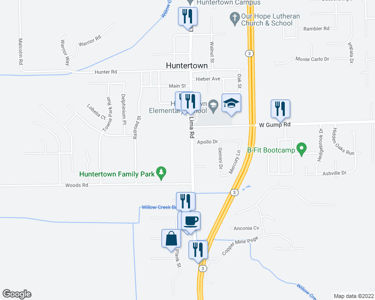 map of restaurants, bars, coffee shops, grocery stores, and more near 15117 Lima Road in Fort Wayne