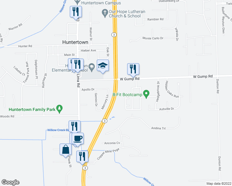 map of restaurants, bars, coffee shops, grocery stores, and more near Stonecrop Road in Huntertown