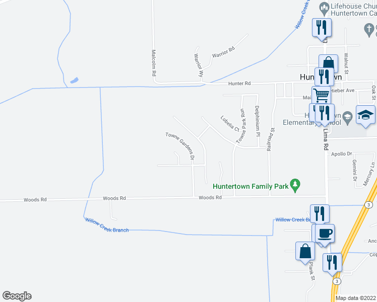 map of restaurants, bars, coffee shops, grocery stores, and more near 15221 Towne Gardens Court in Huntertown