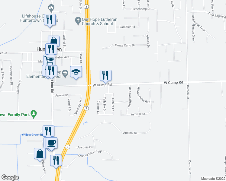 map of restaurants, bars, coffee shops, grocery stores, and more near 1510 Pheasant Run in Huntertown