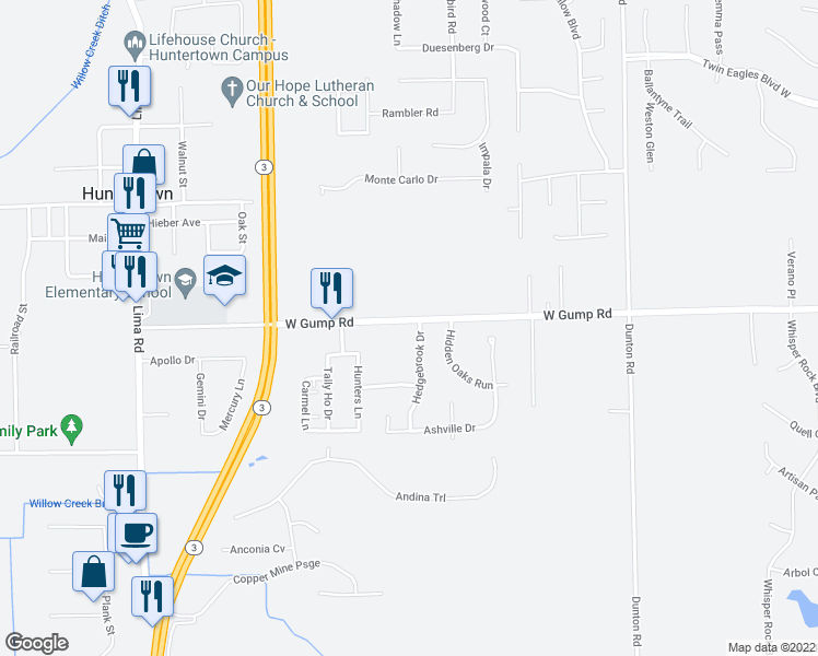 map of restaurants, bars, coffee shops, grocery stores, and more near 15223 Hedgebrook Drive in Huntertown