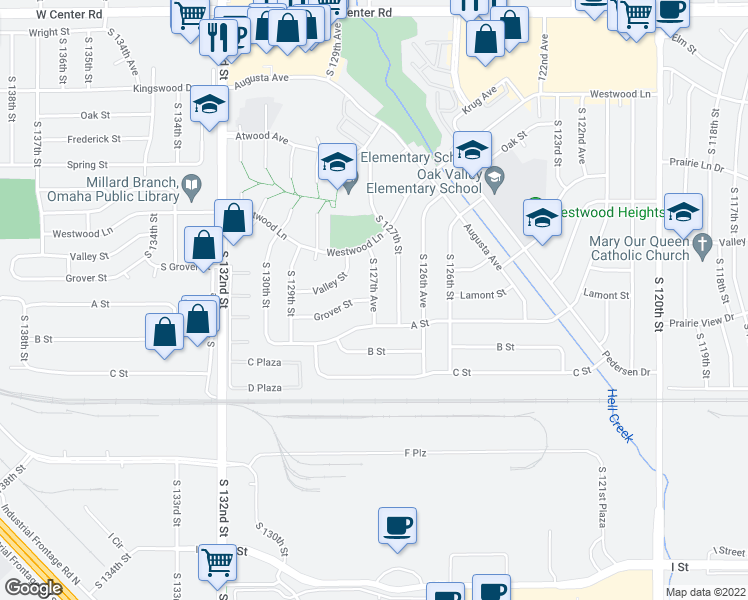 map of restaurants, bars, coffee shops, grocery stores, and more near South 127th Avenue in Omaha