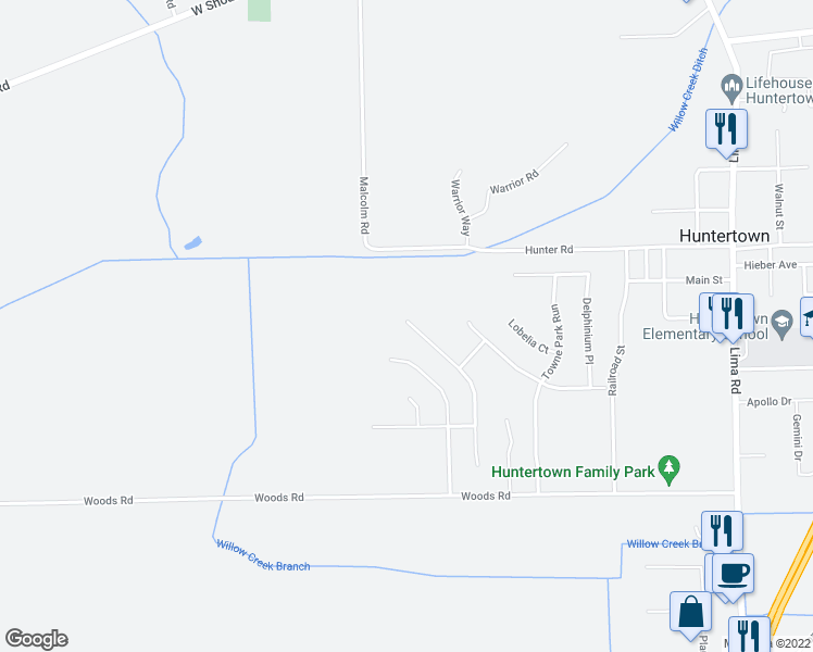 map of restaurants, bars, coffee shops, grocery stores, and more near 15491 Bears Breech Court in Huntertown