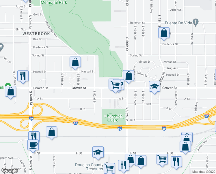 map of restaurants, bars, coffee shops, grocery stores, and more near 5068 Grover Street in Omaha