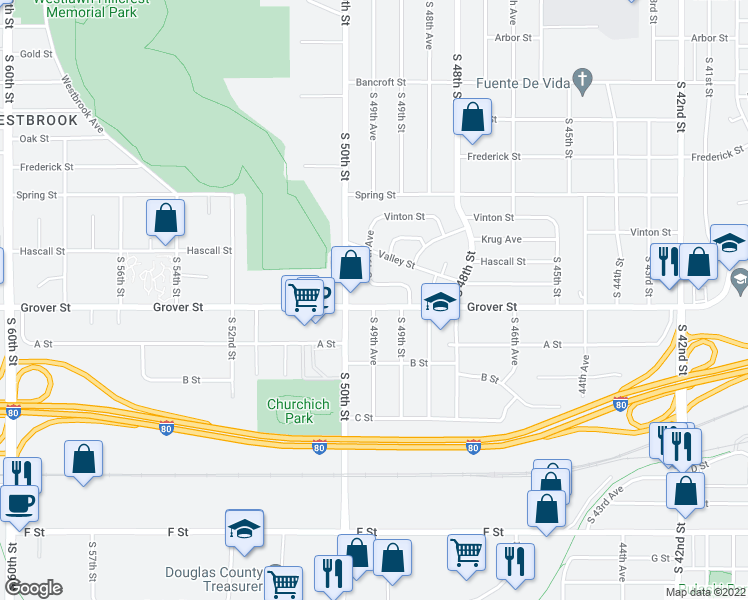 map of restaurants, bars, coffee shops, grocery stores, and more near 4934 Grover Street in Omaha