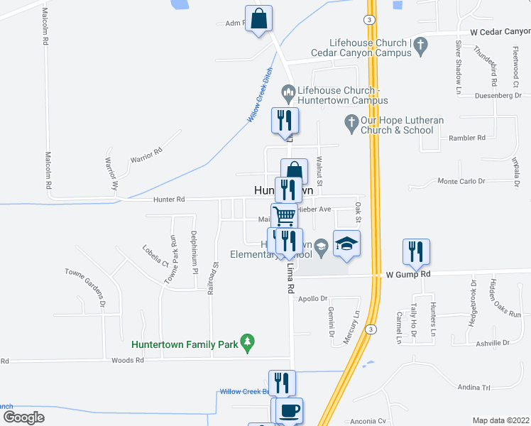 map of restaurants, bars, coffee shops, grocery stores, and more near 2202 Main Street in Huntertown