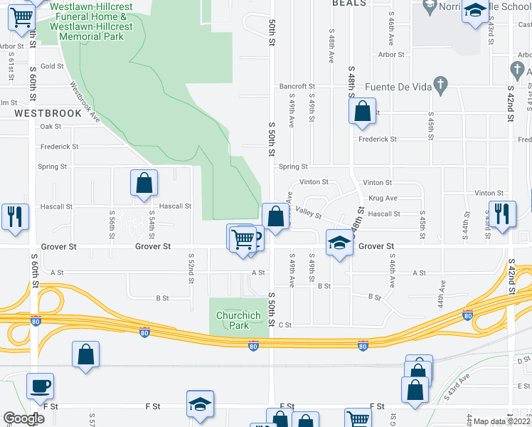 map of restaurants, bars, coffee shops, grocery stores, and more near 3420 South 50th Street in Omaha