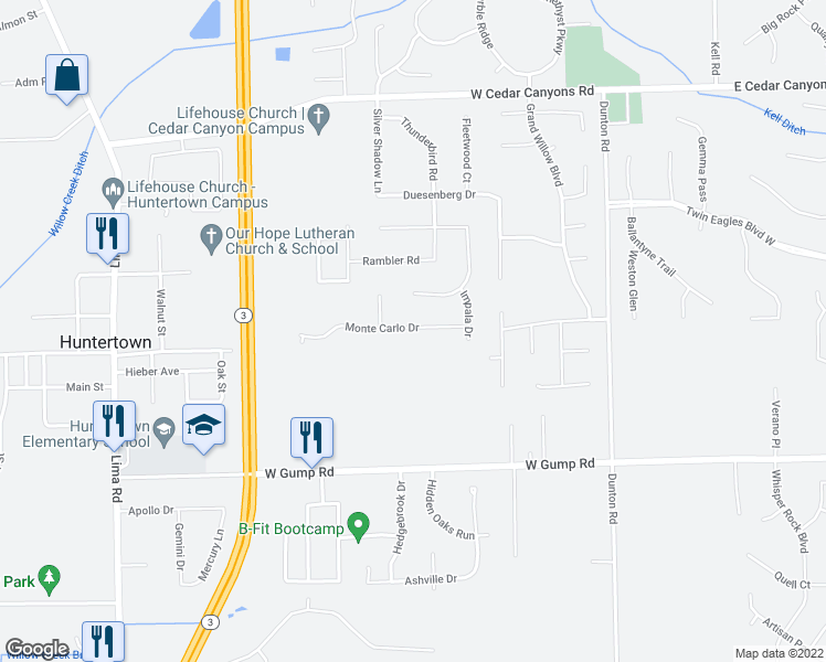 map of restaurants, bars, coffee shops, grocery stores, and more near 1331 Monte Carlo Drive in Huntertown