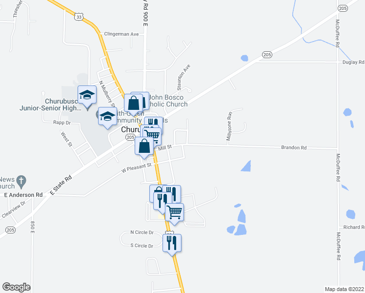 map of restaurants, bars, coffee shops, grocery stores, and more near Gateway Trail in Fort Wayne