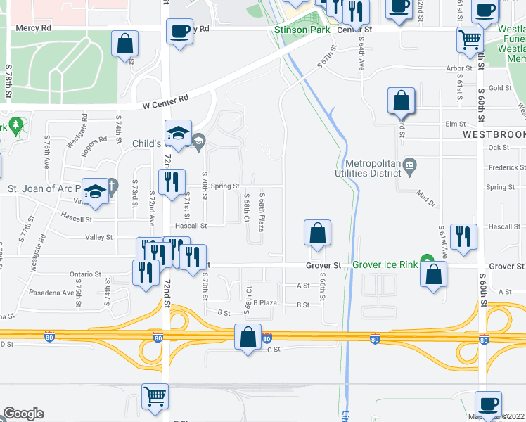 map of restaurants, bars, coffee shops, grocery stores, and more near 3234 South 68th Plaza in Omaha