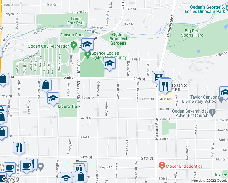 map of restaurants, bars, coffee shops, grocery stores, and more near 973 Rushton Street in Ogden