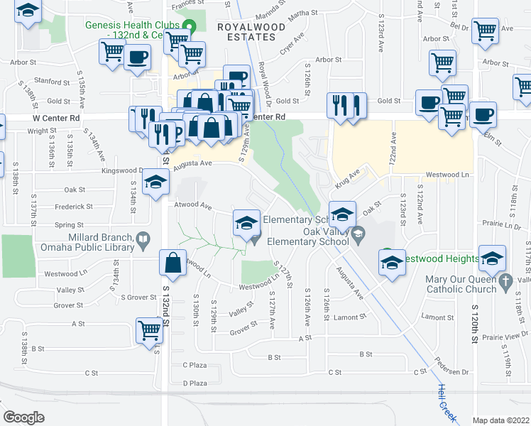 map of restaurants, bars, coffee shops, grocery stores, and more near 3030 South 127th Street in Omaha