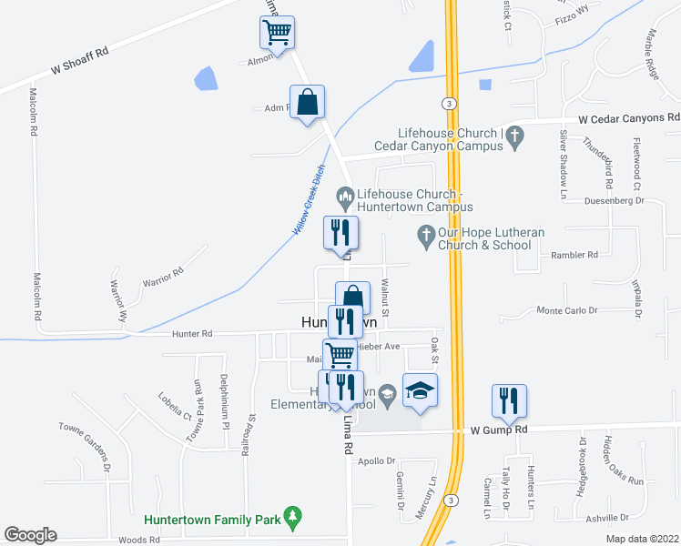 map of restaurants, bars, coffee shops, grocery stores, and more near 15733 Lima Road in Huntertown