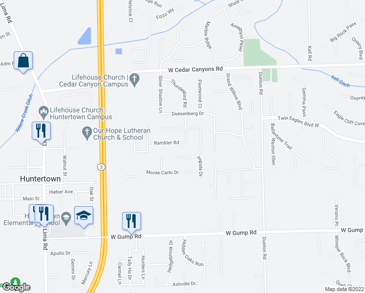 map of restaurants, bars, coffee shops, grocery stores, and more near 1305 Rambler Road in Huntertown
