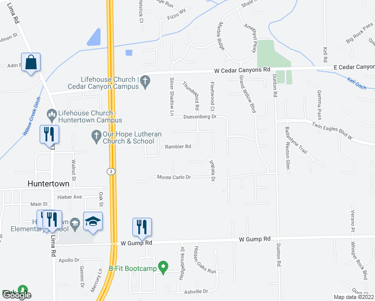 map of restaurants, bars, coffee shops, grocery stores, and more near 1317 Rambler Road in Huntertown