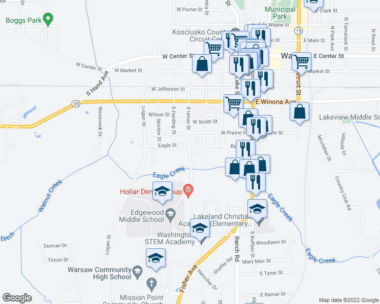 map of restaurants, bars, coffee shops, grocery stores, and more near South Union Street in Warsaw