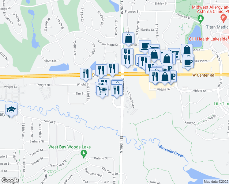 map of restaurants, bars, coffee shops, grocery stores, and more near 12555 Elm St in Omaha