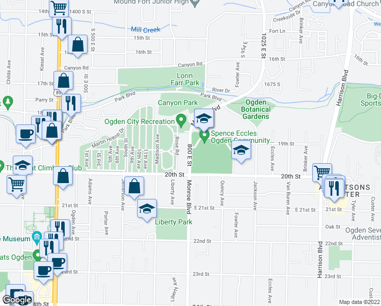 map of restaurants, bars, coffee shops, grocery stores, and more near 1950 800 East Street in Ogden