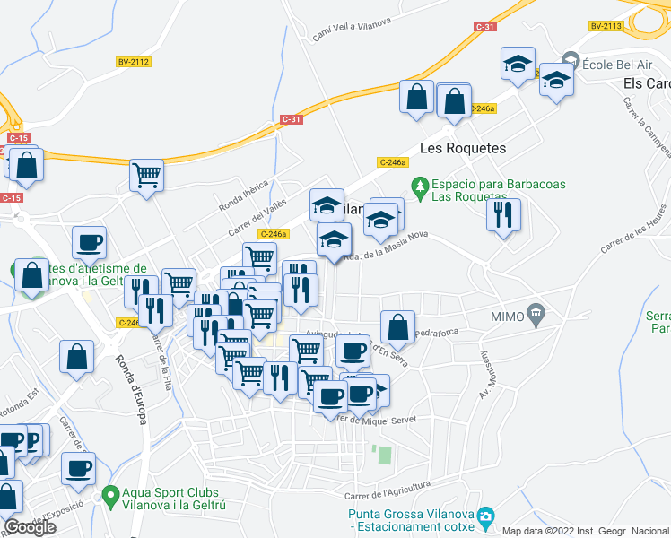 map of restaurants, bars, coffee shops, grocery stores, and more near 100 Carrer de Roger de Flor in Sant Pere de Ribes