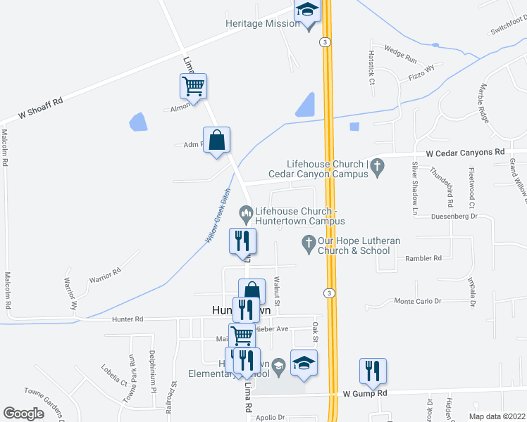 map of restaurants, bars, coffee shops, grocery stores, and more near 16107 Mill Race Drive in Huntertown