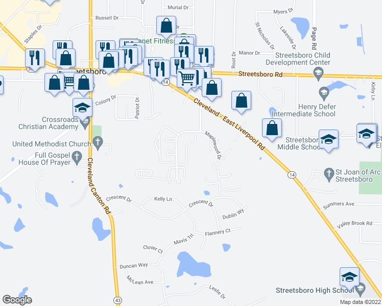 map of restaurants, bars, coffee shops, grocery stores, and more near 9001 Portage Pointe Drive in Streetsboro