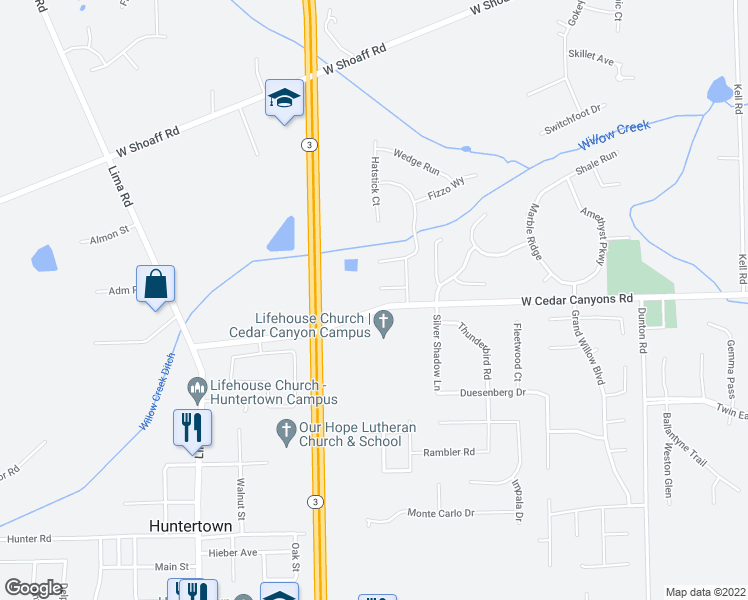 map of restaurants, bars, coffee shops, grocery stores, and more near 1527 Greentee Court in Fort Wayne