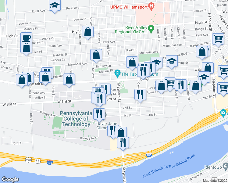map of restaurants, bars, coffee shops, grocery stores, and more near 915 Vine Avenue in Williamsport