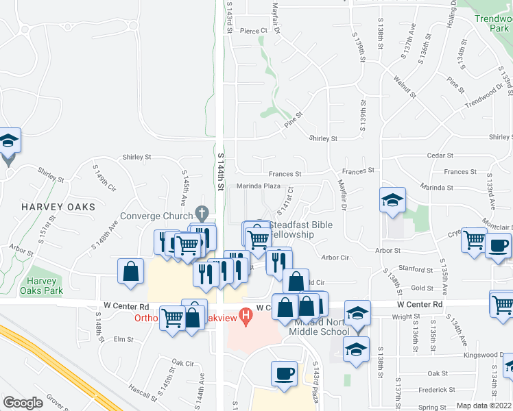 map of restaurants, bars, coffee shops, grocery stores, and more near 2222 South 142nd Court in Omaha
