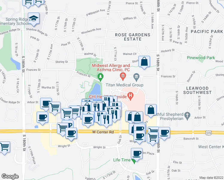map of restaurants, bars, coffee shops, grocery stores, and more near 2323 South 171st Street in Omaha