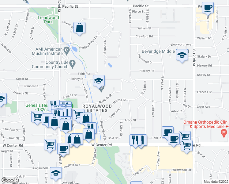 map of restaurants, bars, coffee shops, grocery stores, and more near S 127th Cir in Omaha