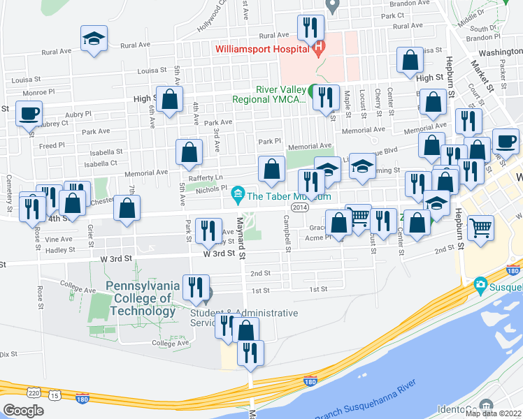 map of restaurants, bars, coffee shops, grocery stores, and more near 831 West 4th Street in Williamsport