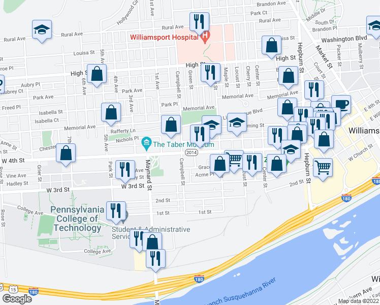 map of restaurants, bars, coffee shops, grocery stores, and more near 770 West 4th Street in Williamsport