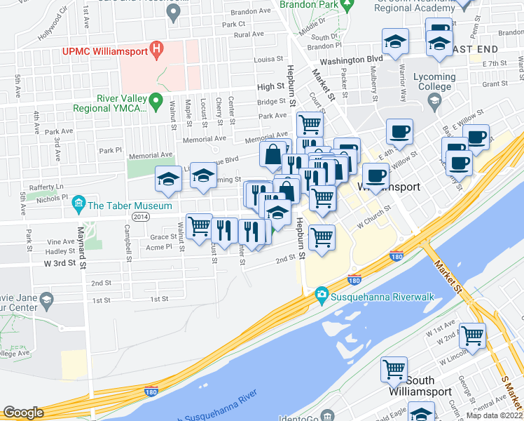map of restaurants, bars, coffee shops, grocery stores, and more near 1 Center Place in Williamsport