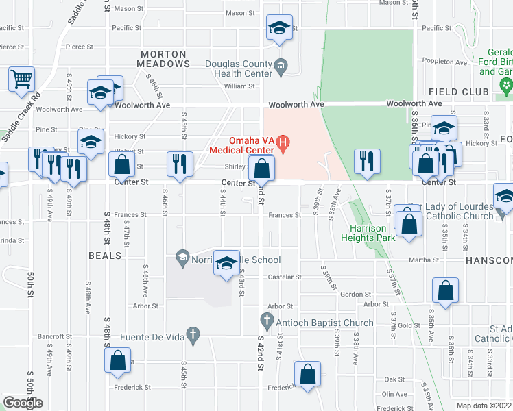 map of restaurants, bars, coffee shops, grocery stores, and more near 4206 Frances Street in Omaha