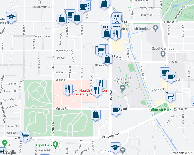 map of restaurants, bars, coffee shops, grocery stores, and more near 7323 Shirley Street in Omaha