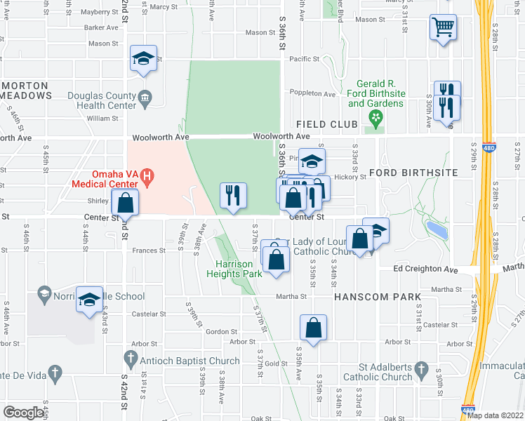 map of restaurants, bars, coffee shops, grocery stores, and more near 1700-1798 South 36th Street in Omaha