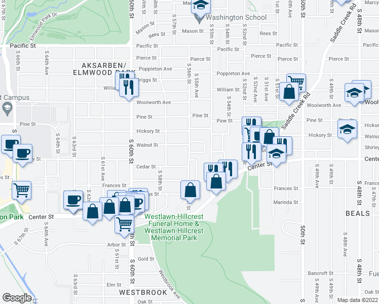 map of restaurants, bars, coffee shops, grocery stores, and more near Shirley Street in Omaha