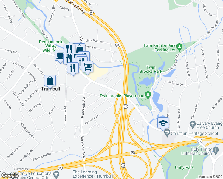 map of restaurants, bars, coffee shops, grocery stores, and more near White Plains Rd & Sunset Ave in Trumbull