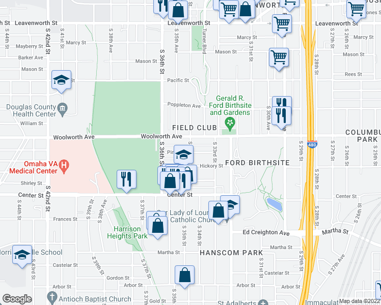 map of restaurants, bars, coffee shops, grocery stores, and more near Pine St & S 35th St in Omaha
