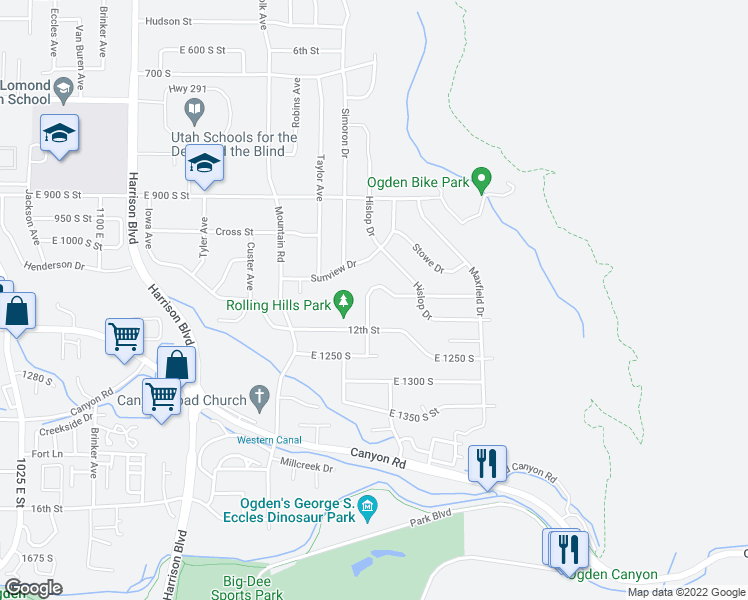 map of restaurants, bars, coffee shops, grocery stores, and more near 1110 South 1550 East Street in Ogden