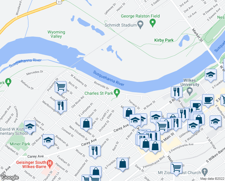 map of restaurants, bars, coffee shops, grocery stores, and more near Riverside Drive in Wilkes-Barre