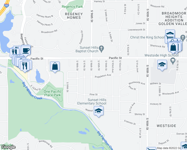 map of restaurants, bars, coffee shops, grocery stores, and more near 1165 S 96th St in Omaha