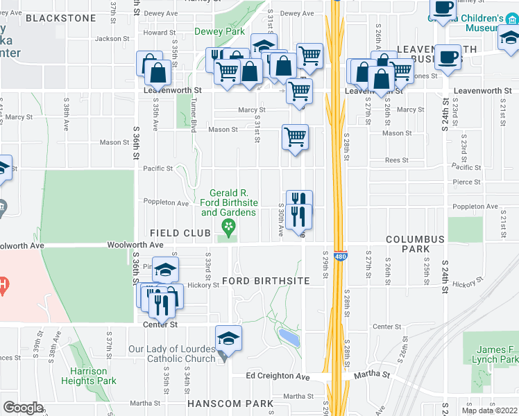 map of restaurants, bars, coffee shops, grocery stores, and more near Poppleton Avenue & South 31st Street in Omaha
