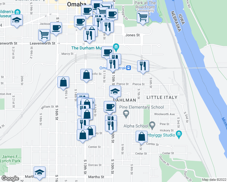 map of restaurants, bars, coffee shops, grocery stores, and more near 1303 South 10th Street in Omaha
