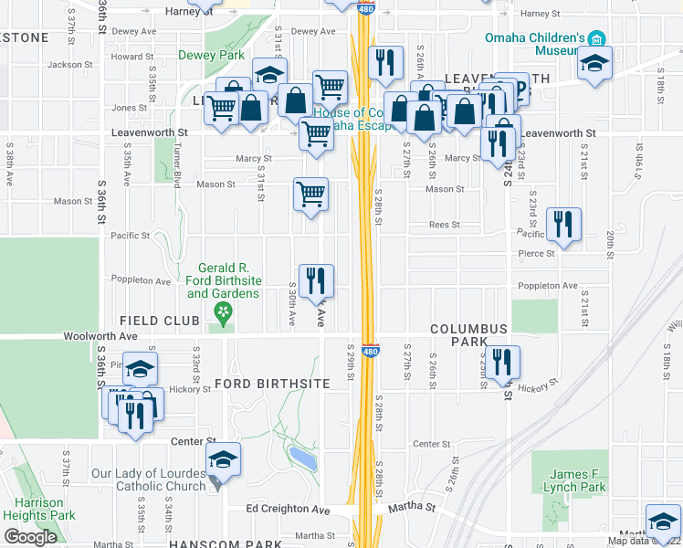map of restaurants, bars, coffee shops, grocery stores, and more near 1138 South 29th Street in Omaha