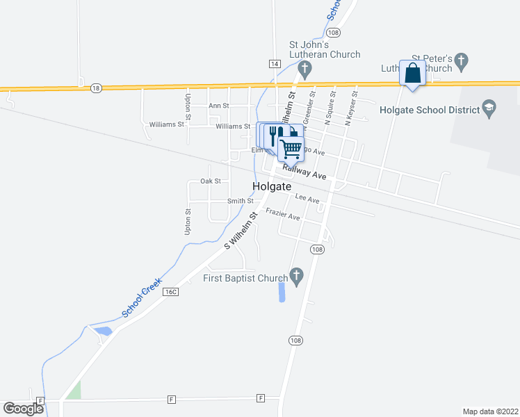 map of restaurants, bars, coffee shops, grocery stores, and more near in Holgate