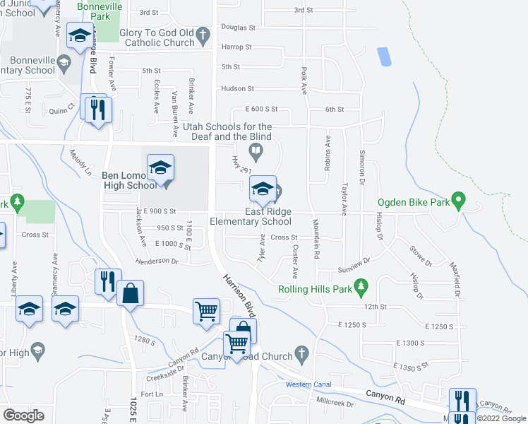 map of restaurants, bars, coffee shops, grocery stores, and more near 1263 9th Street in Ogden