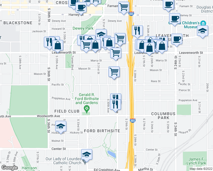 map of restaurants, bars, coffee shops, grocery stores, and more near 3005 Pacific Street in Omaha